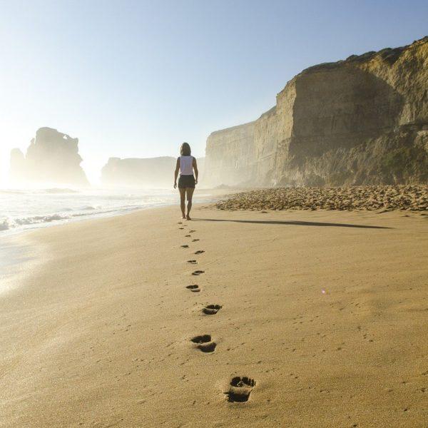 beach, footsteps, sand